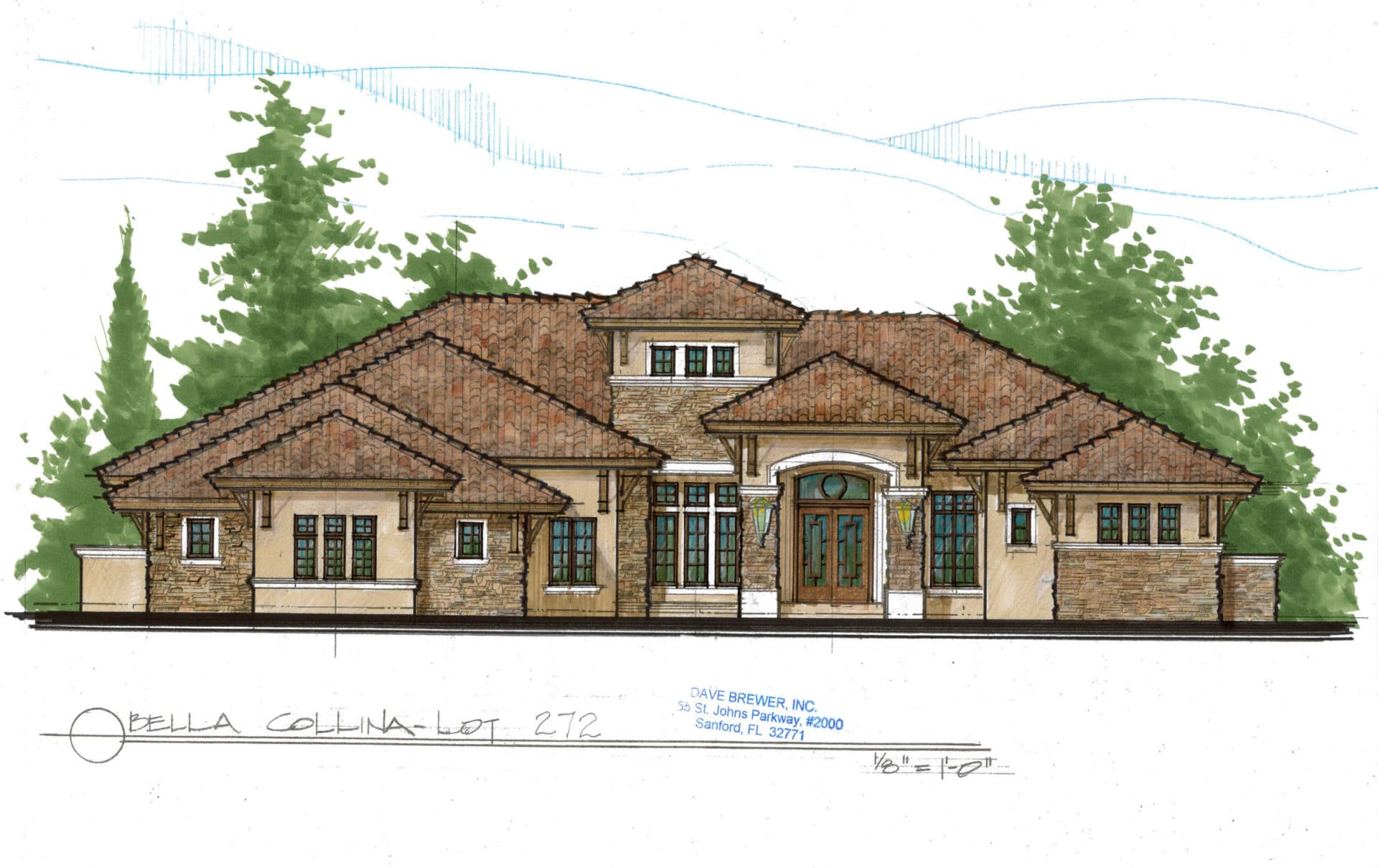 Drawing of Custom Home
